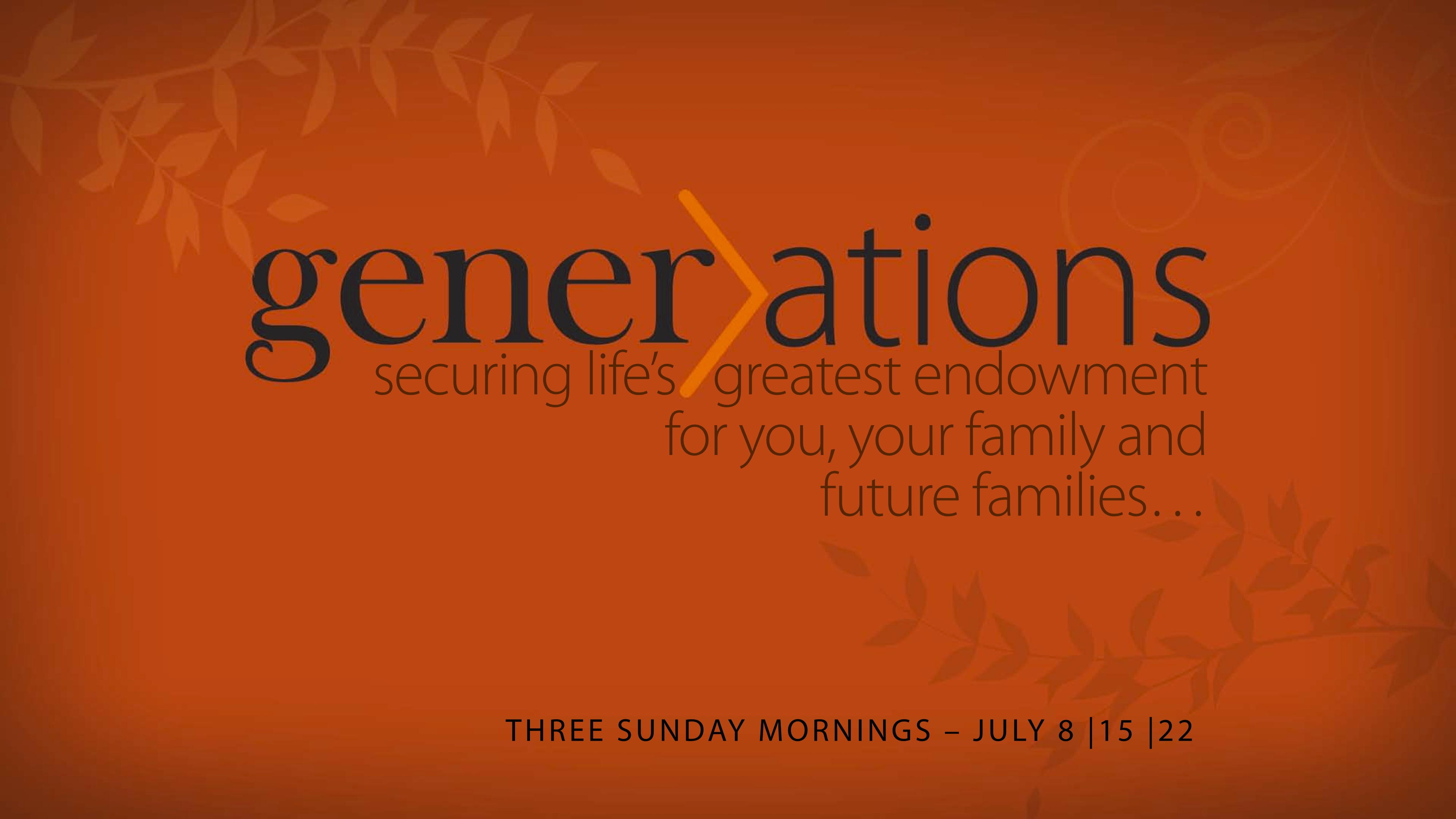 The Generation To Come Equipped For Life David Horner Raleigh